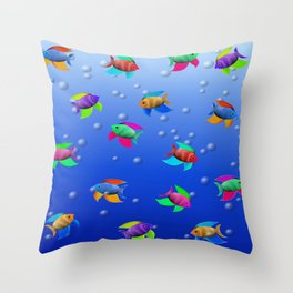 Bright Tropical Fish Throw Pillow