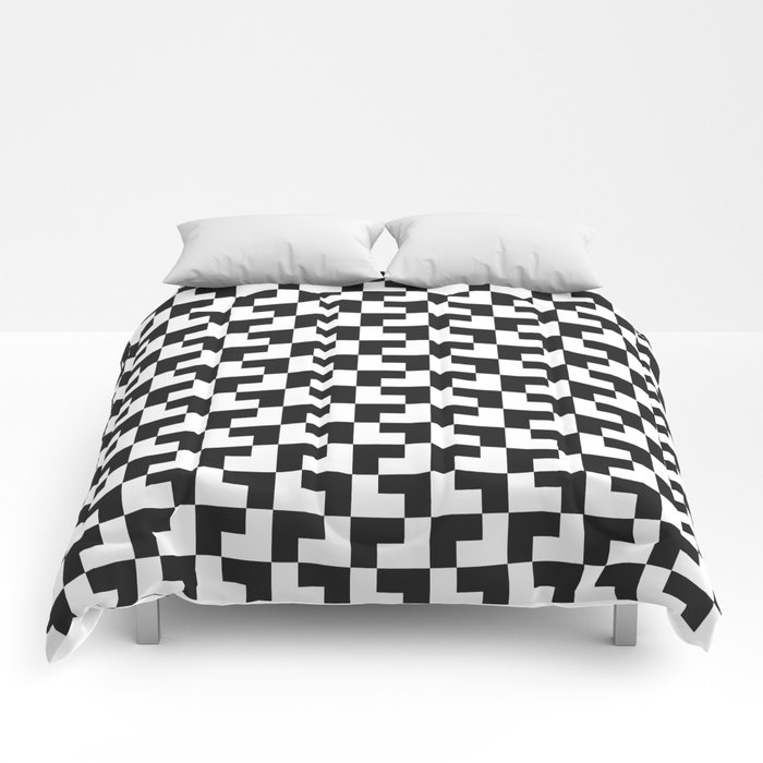 Black and White Tessellation Pattern - Graphic Design Comforters