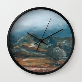 Storm brewing over rural landscape Wall Clock