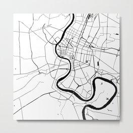 Bangkok Thailand Minimal Street Map - Black and White Metal Print
