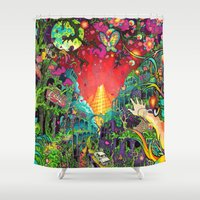 lsd Shower Curtains featuring Eurydice in the Underworld (LSD) by reservenote