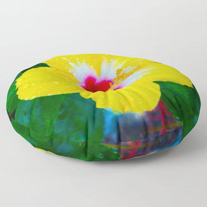 Rain Kissed Yellow Hibiscus Floor Pillow