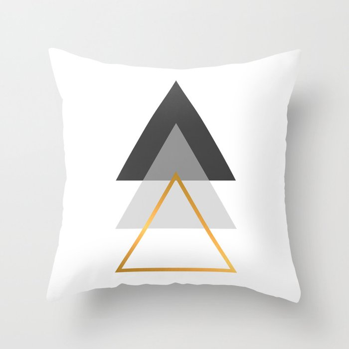 Triangles Art Black White And Gold Throw Pillow By Paintxprint