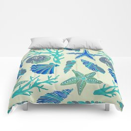 Blue Seashells Comforters