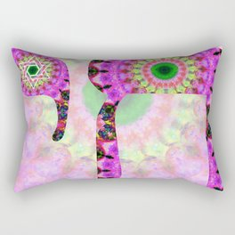 Cool Pink and Green Jewish Mandala Art - Chai 10- Sharon Cummings Rectangular Pillow