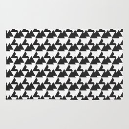 Black and White Abstract Triangles Pattern Rug