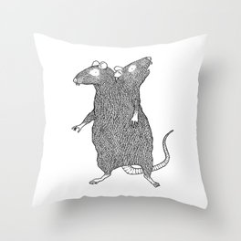 Two Headed Rat, I Love You Throw Pillow
