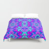 wallpaper Duvet Covers featuring Psychedelic Wallpaper by Kirsten Star