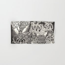 BioTechnological DNA Tree and Abstract Cityscape Hand & Bath Towel