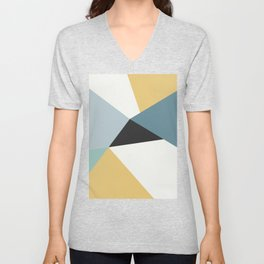 Broken Glass, blue & yellow, abstract graphic Unisex V-Neck