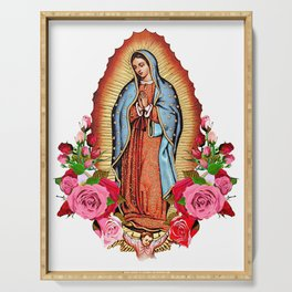 Our Lady of Guadalupe with roses Serving Tray