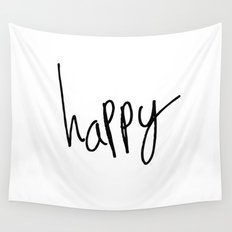 Happy Black and white typography Wall Tapestry