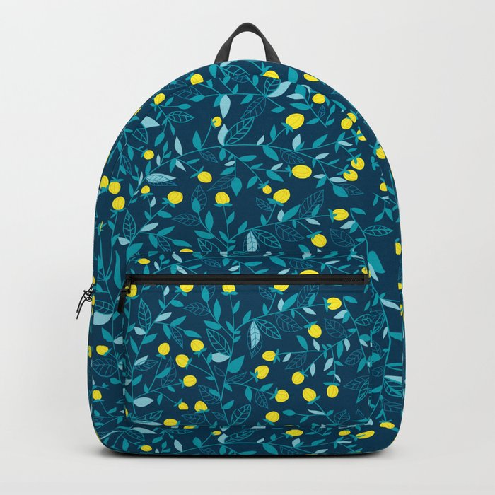 Floral doodles blue and yellow Backpack