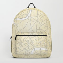 Gold on White London Street Map II Backpack