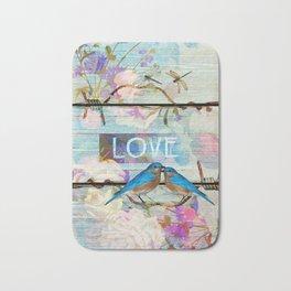 Love Birds on wood Bath Mat