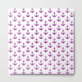 Anchors (Purple & White Pattern) Metal Print
