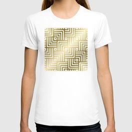 Art Deco Gold and Porcelain White Geometric Pattern T-shirt