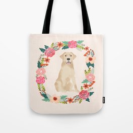 yellow lab floral wreath flowers dog breed gifts labrador retriever Tote Bag