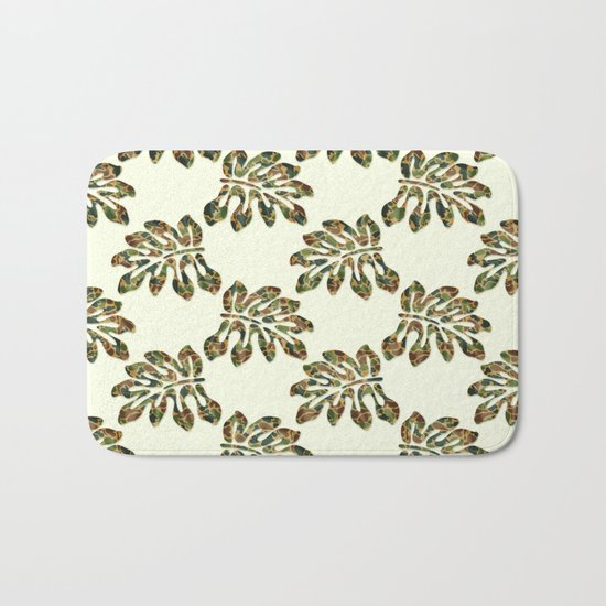 Camouflage Tropical Leaves Bath Mat