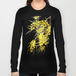 Godlen wattle flower watercolor Long Sleeve T-shirt