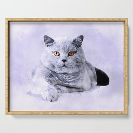 British shothair cat watercolor Serving Tray