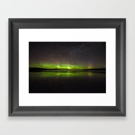 Shawbost shore aurora and stars reflected.  Framed Art Print