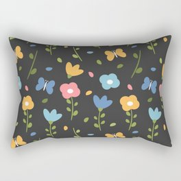 cute colorful spring pattern background with flowers, leaves and butterflies Rectangular Pillow