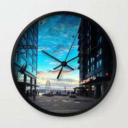 Seattle Summer Sunset Wall Clock