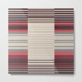 Bauhaus Stripe in Red Multi Metal Print