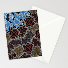 Water Lilly Dreaming - Authentic Aboriginal Art Stationery Cards