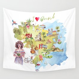 Brasil Map Wall Tapestry