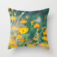 aperture Throw Pillows featuring Orange Cosmos by Laura Ruth