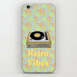 Retro Vibes Record Player Design in Yellow iPhone Skin