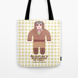 Amelia Earhart Illustration Tote Bag