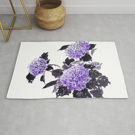 Hydrangea flowers sumie ink and watercolor painting Rug