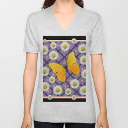 Yellow Butterfly on Black-grey Shasta Daisy Abstract Pattern Unisex V-Neck