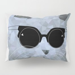 Low poly hipster british cat Pillow Sham