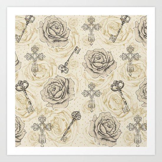 Roses & keys Art Print