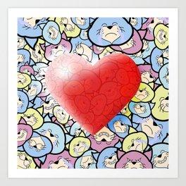 Catty Heart Art Print