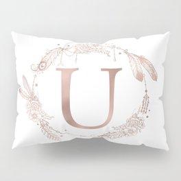 Letter U Rose Gold Pink Initial Monogram Pillow Sham