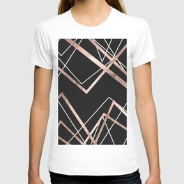 Rose Gold Black Linear Triangle Abstract Pattern T-shirt
