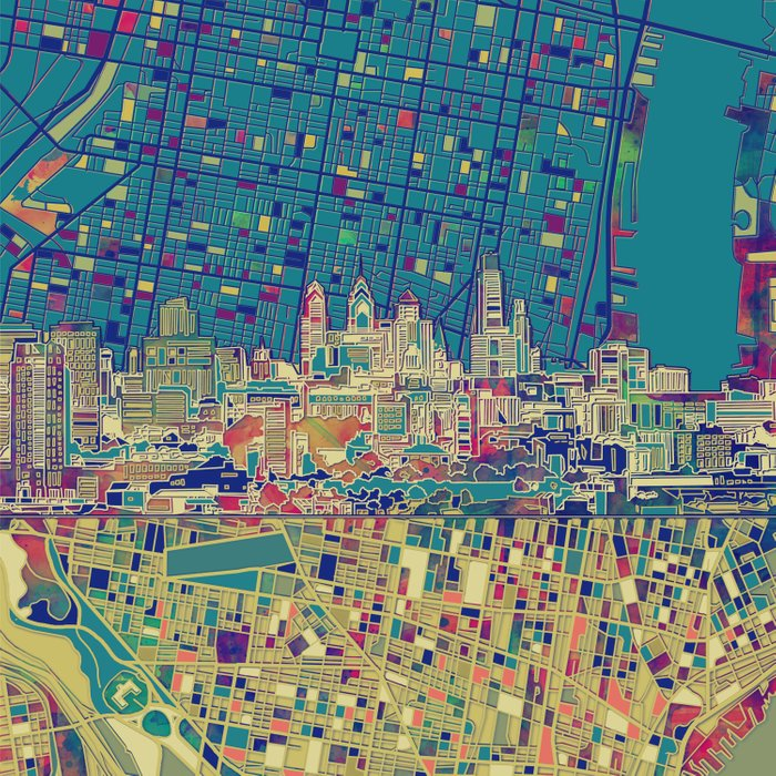 philadelphia city skyline map Comforters