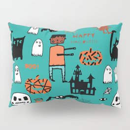 Cute Frankenstein and friends teal #halloween Pillow Sham