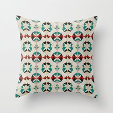 Abstract Pattern - Teal & Red Throw Pillow
