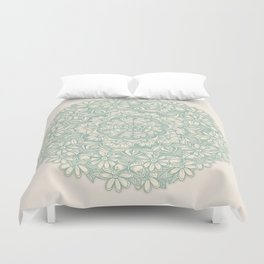 Sage Medallion with Butterflies & Daisy Chains Duvet Cover