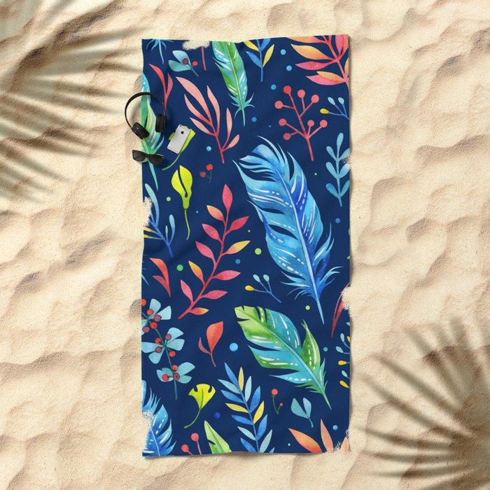 Feathers Pattern 02 Beach Towel