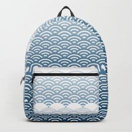Ocean Japanese Wave Pattern, transparent background Backpack