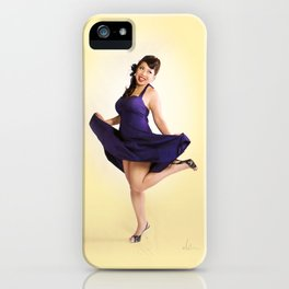"""""""Flirt Skirt"""" - The Playful Pinup - Cheesecake Pinup Smile in Purple Dress by Maxwell H. Johnson iPhone Case"""