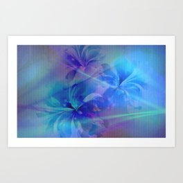 Soft  Colored Floral Lights Beams Abstract Art Print
