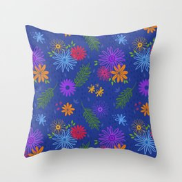 Multicolored Colorful Flower Pattern Design (Blue Pink Red Yellow Green Purple) Garden Illustration Throw Pillow